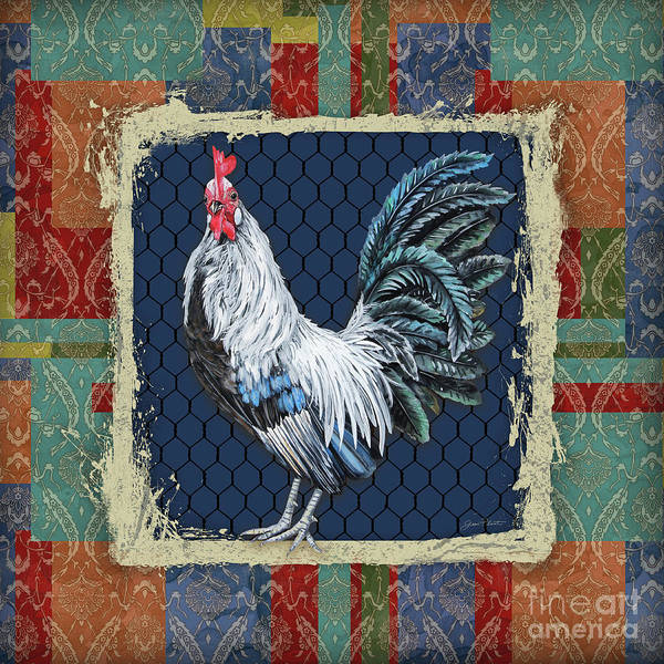 Wall Art - Painting - Damask Rooster-q by Jean Plout