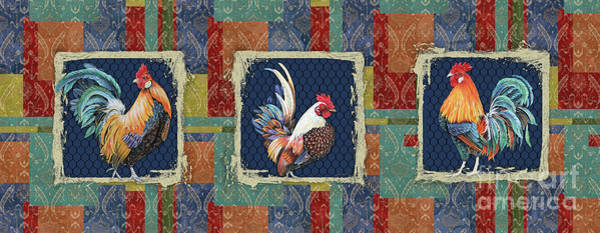 Wall Art - Painting - Damask Rooster-r by Jean Plout