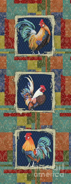 Wall Art - Painting - Damask Rooster-s by Jean Plout