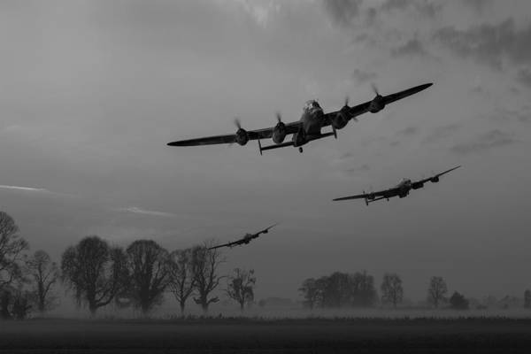 Photograph - Dambusters Departing Black And White Version by Gary Eason