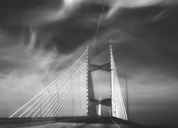 Cabling Photograph - Dames Point Bridge In Black And White by Judy Hall-Folde