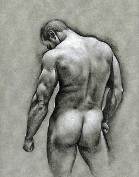 Male Nude Drawing - Dan by Chris Lopez