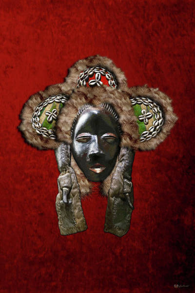 African Tribal Digital Art - Dan Dean-gle Mask Of The Ivory Coast And Liberia On Red Velvet by Serge Averbukh