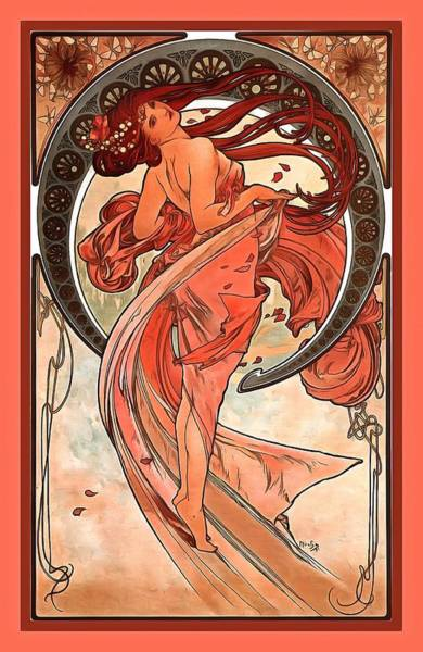 Wall Art - Digital Art - Dance by Alphonse Maria Mucha