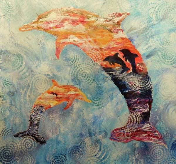 Painting - Dance At Dawn Dolphin by Pam Halliburton