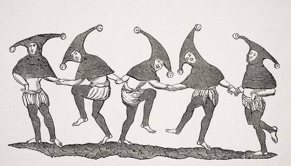 Amuse Drawing - Dance Of Fools. 19th Century by Vintage Design Pics