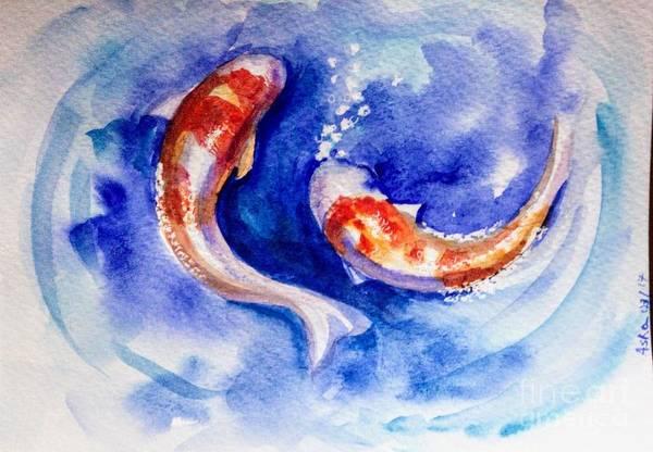Painting - Dance Of Koi Carp Fish by Asha Sudhaker Shenoy