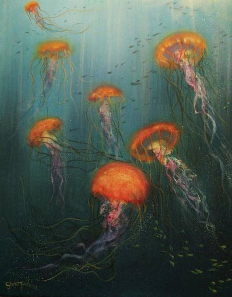 Jellyfish Painting - Dance Of The Jellyfish by Tom Shropshire