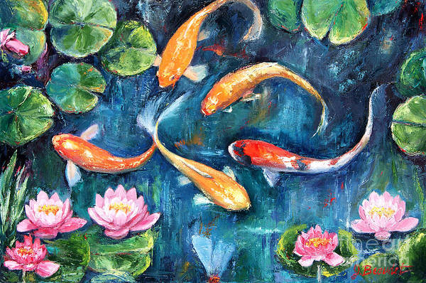Lilly Pad Painting - Dance Of The Koi by Jennifer Beaudet