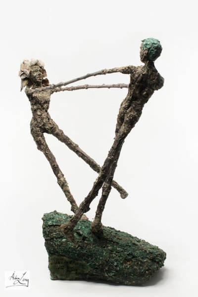 Male Mixed Media - Dance On A Hill Top Back View by Adam Long