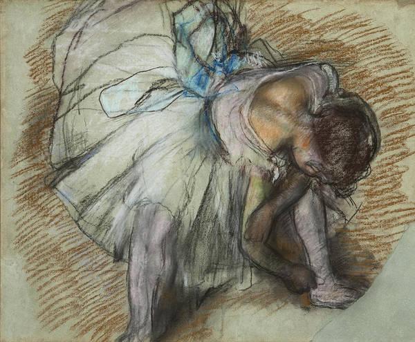 Painting - Dancer Adjusting Her Shoe by Edgar Degas