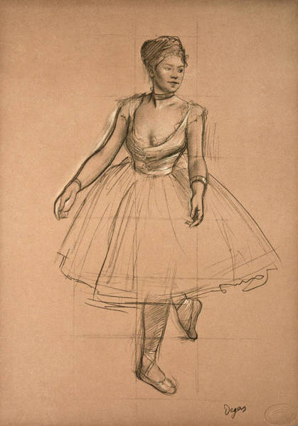 Drawing - Dancer In Position. Three-quarter View  by Edgar Degas