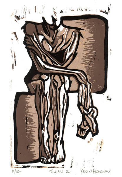 Linocut Wall Art - Drawing - Dancer by Kevin Houchin
