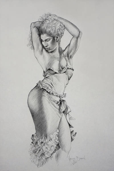 Wall Art - Drawing - Dancer Muse Study by Harvie Brown