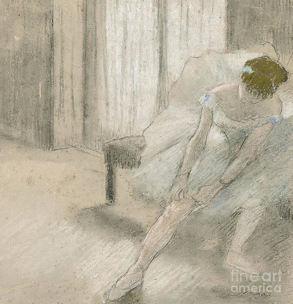 Window Dressing Wall Art - Pastel - Dancer Seated, Readjusting Her Stocking by Edgar Degas