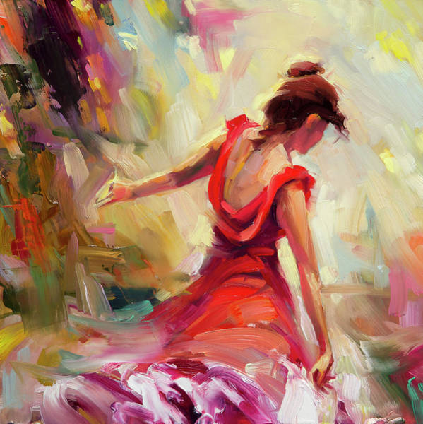 Beautiful Woman Wall Art - Painting - Dancer by Steve Henderson