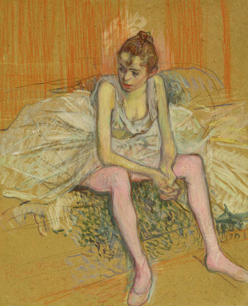 Crayon Drawing - Dancer With Pink Stockings by Henri de Toulouse-Lautrec