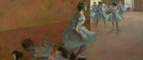 1834 Wall Art - Painting - Dancers Ascending A Staircase by Edgar Degas
