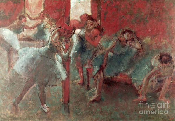 Blue Dress Painting - Dancers At Rehearsal by Edgar Degas