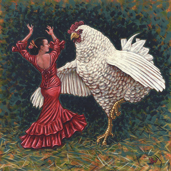 Wall Art - Painting - Dancers El Gallo by Holly Wood