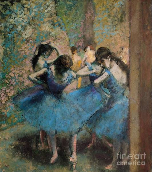 Oil Painting - Dancers In Blue by Edgar Degas