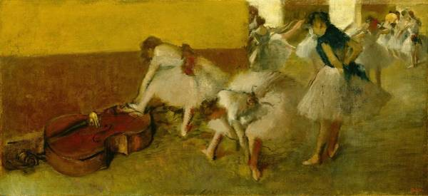 Lady In Waiting Painting - Dancers In The Green Room by Edgar Degas