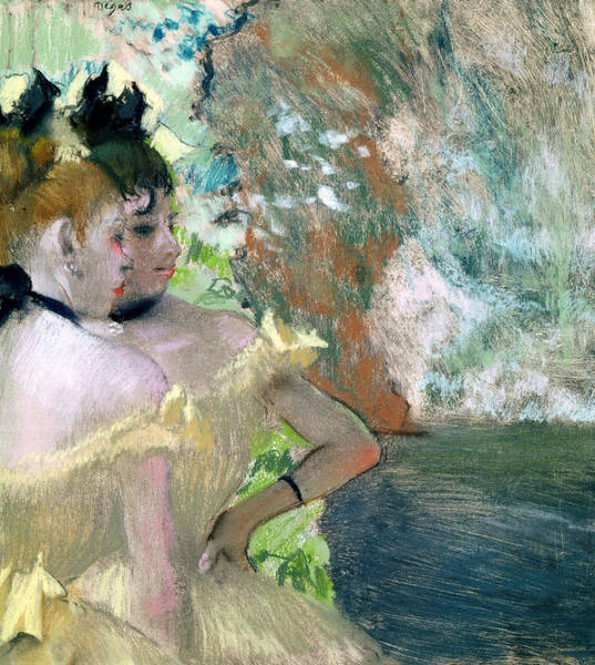 Wing Back Wall Art - Pastel - Dancers In The Wings  by Edgar Degas