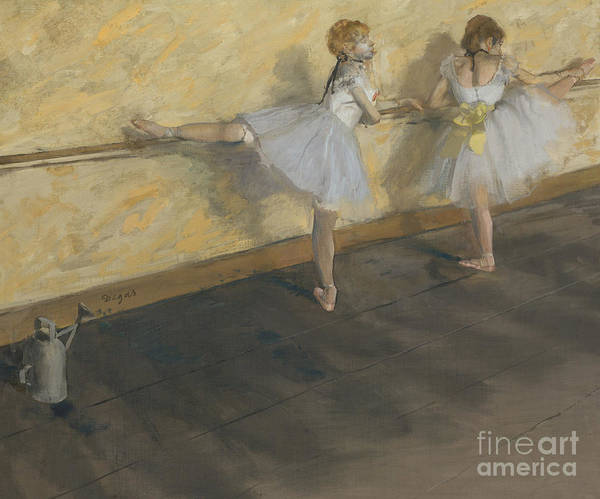 Preparation Painting - Dancers Practising At The Barre, 1877 by Edgar Degas