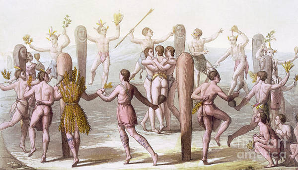 Totem Pole Wall Art - Drawing - Dances Of The Native Inhabitants Of Virginia by Italian School