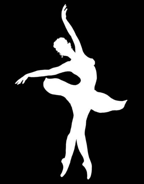 Wall Art - Painting - Dancing Ballerina White Silhouette by Irina Sztukowski