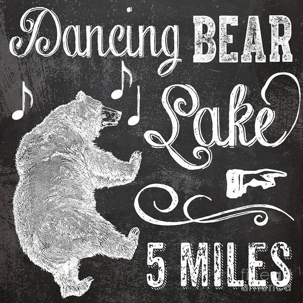 Lake Wall Art - Painting - Dancing Bear Lake Rustic Cabin Sign by Mindy Sommers