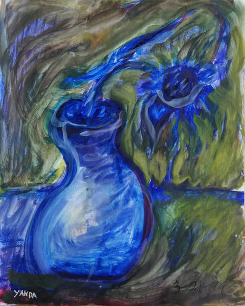 Mixed Media - Dancing Blue Flower In Vase by Katt Yanda