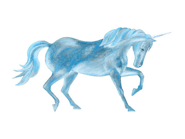 Mixed Media - Dancing Blue Unicorn by Elizabeth Lock