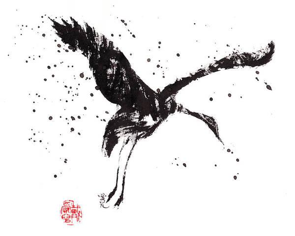 Dancing Crane Art Print