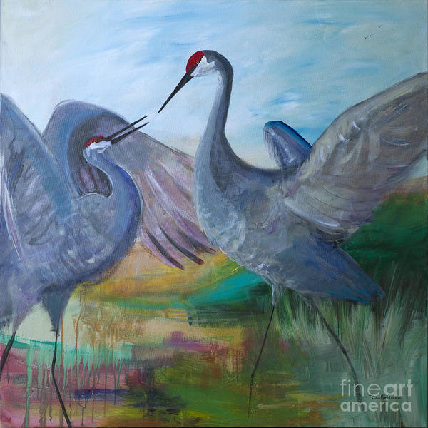 Dancing Cranes Art Print