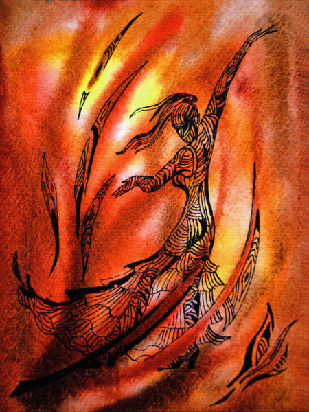 Fire Dance Wall Art - Painting - Dancing Fire II by Irina Sztukowski