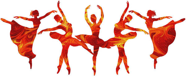 Fire Dance Wall Art - Painting - Dancing Flames Ballerinas by Irina Sztukowski