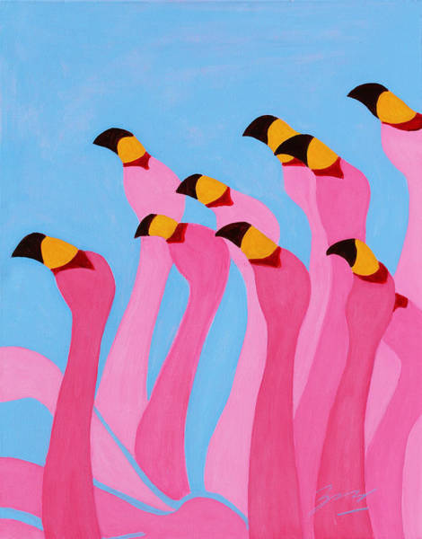 Painting - Dancing Flamingos by Xueling Zou