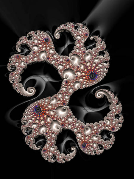 Silver And Gold Digital Art - Dancing Fractal Spirals With Beautiful Colors by Matthias Hauser