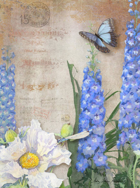 Wall Art - Painting - Dancing In The Wind - Damselfly N Morpho Butterfly W Delphinium by Audrey Jeanne Roberts