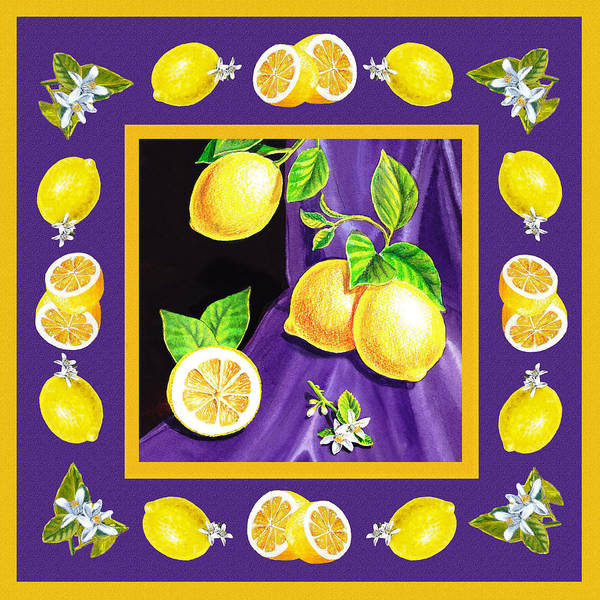 Wall Art - Painting - Dancing Lemons And Blossoms by Irina Sztukowski