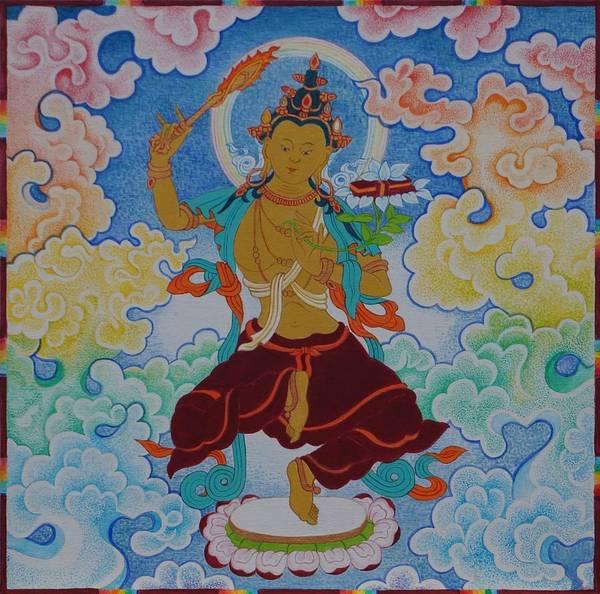 Flaming Sword Painting - Dancing Manjushri by Berty Sieverding