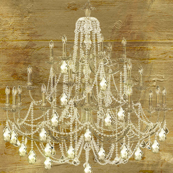 Gold Painting - Lit Chandelier Gold by Mindy Sommers