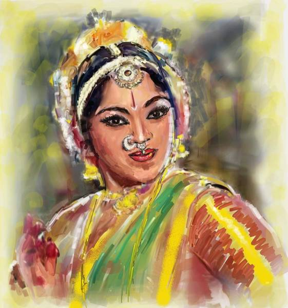 Usha Painting - Dancing Padmini by Usha Shantharam