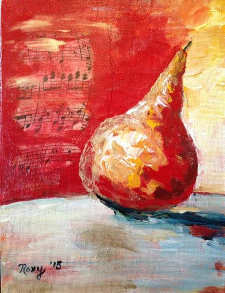 Still Life Painting - Dancing Pear by Roxy Rich