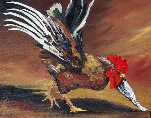 Bird Wall Art - Painting - Dancing Rooster  by Torrie Smiley