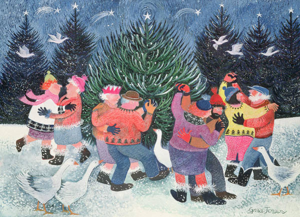 Dancing Men Painting - Dancing Round The Tree by Lisa Graa Jensen