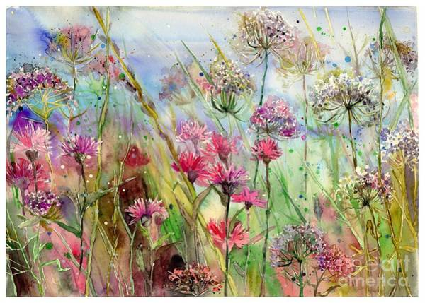 Watercolour Landscape Painting - Dancing Thistles by Suzann's Art