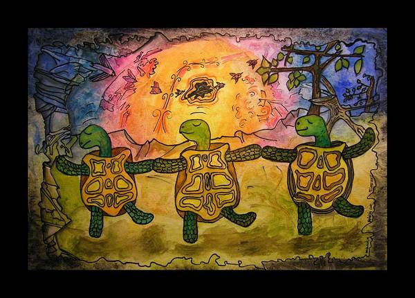Dancing Turtles Art Print