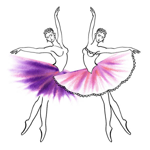 Line Drawing Painting - Dancing Tutus In Purple And Pink by Irina Sztukowski